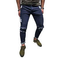 LAAMEI Fashion Ankle Zipper Skinny Jeans For Men Deep Blue 2018 Men Jeans Stretch Destroyed Ripped Street Hip Hop Pencil Pants