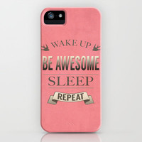 Be Awesome. Repeat. (Salmon) iPhone & iPod Case by Jacqueline Maldonado