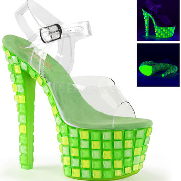 7 Inch Rave Shoes UV Blacklight Reactive Covered Platform