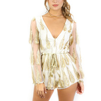 Babes Forever White Romper With Gold Feathers