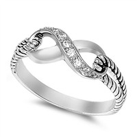 Sterling Silver Clear CZ Infinity Ring with Cable Band Size 4-10