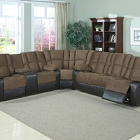 3 pc David two tone Mocha microfiber and dark brown leather like vinyl sectional sofa with recliners and center console