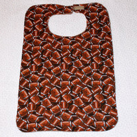 Reversible Adult Bib/Clothes Protector - Brown Football Print - Cotton and Terry Cloth - Unisex