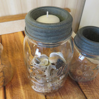Tapered Cup Lid Barn Roof Tin Mason Jar Accessory Votives Home Kitchen Bath
