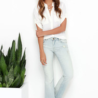 Blank NYC Shibby Light Wash Distressed Flare Jeans