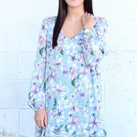 Floral Chic Sleeved Dress {Powder Blue}