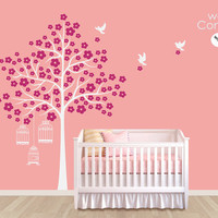 """Baby Nursery Wall Decals - White Tree Wall Decal - Birdhouse wall decal - Tree Wall Decals - Large: approx 84"""" x 62"""" - K007"""