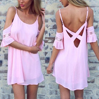 Pink Boho Backless Spaghetti Strap Dress