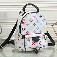LV Louis Vuitton Classic Woman Men Leather Travel Bookbag Shoulder Bag Mini Backpack White