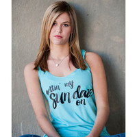 Women's Getting my Sun Daze on Tank Top - Tahiti Blue