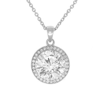 """Mariah 18k Gold Round Cut CZ Halo Pendant Necklace with 18"""" Chain (6 COLORS)"""