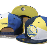 Golden State Warriors Logo Blue Yellow and White Mitchell & Ness White Snap Back Hat