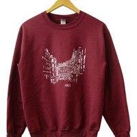 Streets of Paris Maroon Graphic Crewneck Sweatshirt