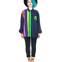 80s Vertical Striped Color Blocked Shirt Colorful Geometric Club Kid Blouse Navy Button Down Long Sleeve Hipster Shirt (L/XL)