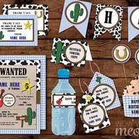 COWBOY Birthday Party Package INSTANT DOWNLOAD Invitations Decorations Sherif Western Printable Collection Editable Text Personalize Cowgirl