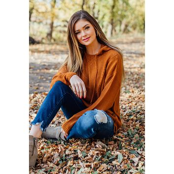 Lily Sweater Hoodie- Caramel