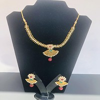 Spectacular Gold Plated Traditional Necklace Set