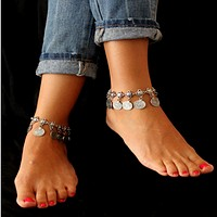 Retro flea coin set bracelet, explosive fashion anklet
