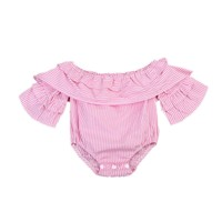 Newborn Baby Girls Bodysuit Off Shoudler Pink Striped Autumn Long Sleeve Clothing Girl Costume Ruffle Jumpsuit Outfits Clothes