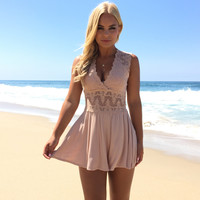 Lace Of My Life Romper In Nude