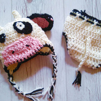 Crochet Cow hat Holstein Hat and Diaper cover Baby Photo prop Animal Hat Newborn Cow Beanie Farmers Hat Baby Girl Cow hat Boy cow hat