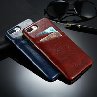 FLOVEME Retro Grease Glazed Case for iPhone 6 6s Plus 5s Leather Back Cover Card Slot Mobile Phone Accessorie For iPhone6 7 5 se