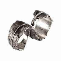 Bohemian Hippie Double Finger Silver Feather Ring