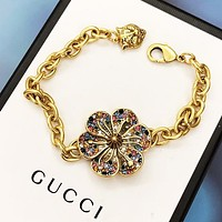 GUCCI Fashion Flower Colorful Diamond Delicate Titanium Steel Bracelet Bracelet Jewelry Accessories