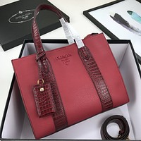 prada women leather shoulder bag satchel tote bag handbag shopping leather tote crossbody 11
