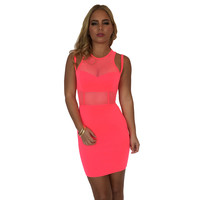Uptown Funk Bodycon Dress In Electric Pink
