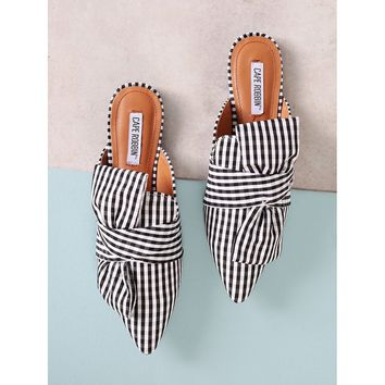 Gingham Print Pointed Toe Mule Flat with Bow
