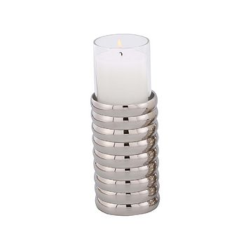 Silver Ribbed Candle Holder (L) | Liang & Eimil Pillar