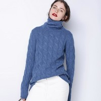 Women's Fall Winter Long Thick Denim Blue Grey Cashmere Sweater Women Ugly Christmas Turtleneck Sweater Female Cable Knit Jumper