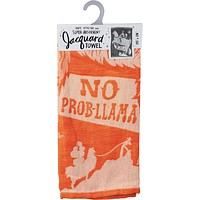 """No Prob-Llama Cowboy Bright Funny Snarky Dish Cloth Towel   Ultra Soft and Absorbent Jacquard   All-Over Design   Unfolds 20"""" x 28""""   Giftable"""