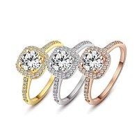 18K Gold Plated Bella Vita Halo 2 CT Round Austrian Crystal Ring For Woman ~ In Three Colors