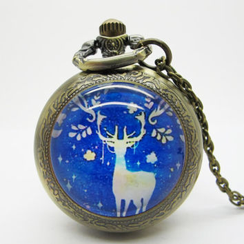 Vintage Glass Pocket Watch Necklace / Deer  Pocket Watch Necklace  - Buy 3 Get 4th One Free PW113