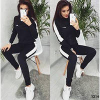 NIKE Fashion Letter Long Sleeve Shirt Sweater Pants Sweatpants Set Two-Piece