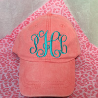 Monogram Baseball Cap with interlocking monogram, Monogram Hat