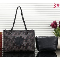 Fendi Fashion New More Letter Leather Handbag Shoulder Bag Leisure Two Piece Suit Bag Women