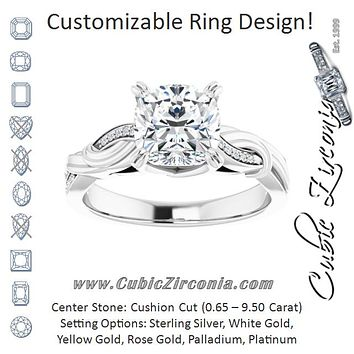 Cubic Zirconia Engagement Ring- The Fabiola (Customizable Cathedral-raised Cushion Cut Design featuring Rope-Braided Half-Pavé Band)