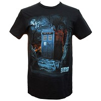 Dr. Who & The Daleks Tardis In The Woods Men's T-shirt