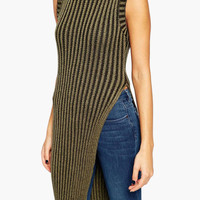 Sleeveless Turtleneck Striped Knitted Asymmetrical Top