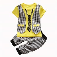 Summer Baby Boys Clothing Set Kids Children Boys Clothing Toddler Plaid t-shirt pants Suit Set Summer Tracksuit Set