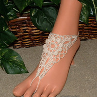 Ivory white daisy crochet barefoot sandals bare foot anklet beach wedding bridal jewelry shoes
