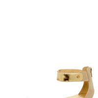 Promise Picken Nude Gold-Plated Wedge Sandals