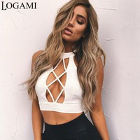 LOGAMI Crop Top Woman Halter Neck Sexy Top Summer Hollow Out Womens Backless Bodycon Tops Women Tank Black White