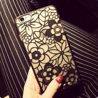 Retro carved hollow lace, Plastic iPhone 6 Case, Clear iPhone 6 plus Cover with Lace Print, Bohemian Phone Cover,  Ethnic iPhone Case,Flowers iphone 5s cover = 6014848967