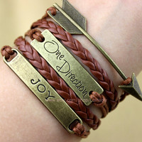 Ancient bronze arrows bracelet - 'one direction' bracelet - JOY bracelet, infinite happy bracelet - the most good sisters gifts