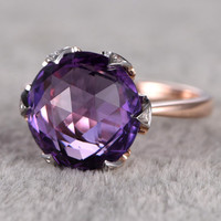 Big 12mm Amethyst Engagement ring,Diamond 6-Claw wedding ring,14K Rose Gold Band,Purple stone Promise Ring,Bridal Ring,Birthstone New Design