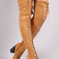 Suede Lace Up Chunky Heeled Over-The-Knee Boots